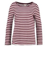 T-shirt à manche longue à rayures horizontales bordeaux Esprit