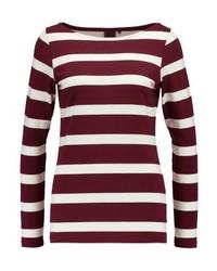 T-shirt à manche longue à rayures horizontales bordeaux Josephine & Co