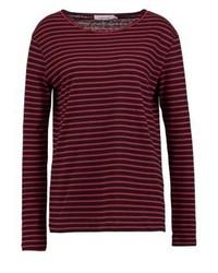 T-shirt à manche longue à rayures horizontales bordeaux Samsøe & Samsøe
