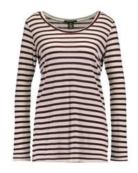 T-shirt à manche longue à rayures horizontales bordeaux Scotch & Soda