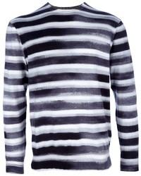 T-shirt à manche longue à rayures horizontales gris foncé Paul Smith
