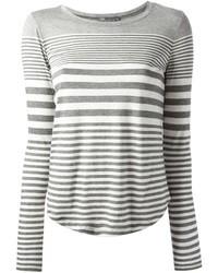 T-shirt à manche longue à rayures horizontales gris