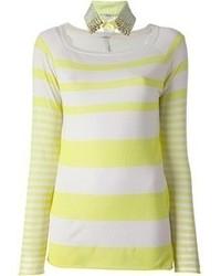T-shirt à manche longue à rayures horizontales jaune