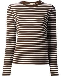 T-shirt à manche longue à rayures horizontales marron Michael Kors