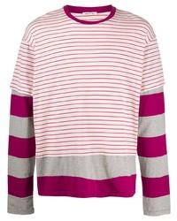 T-shirt à manche longue à rayures horizontales multicolore Marni
