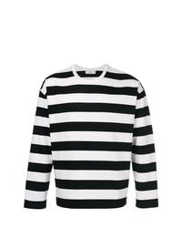 T-shirt à manche longue à rayures horizontales noir et blanc AMI Alexandre Mattiussi