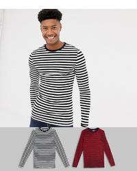 T-shirt à manche longue à rayures horizontales noir et blanc ASOS DESIGN