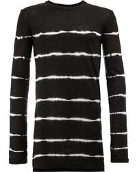 T-shirt à manche longue à rayures horizontales noir et blanc Balmain