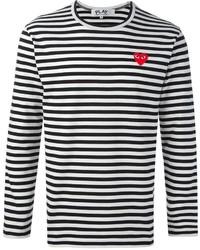T-shirt à manche longue à rayures horizontales noir et blanc Comme des Garcons