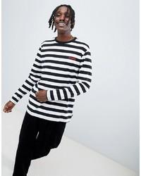 T-shirt à manche longue à rayures horizontales noir et blanc Diamond Supply