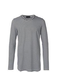 T-shirt à manche longue à rayures horizontales noir et blanc Diesel Black Gold