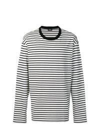 T-shirt à manche longue à rayures horizontales noir et blanc Diesel