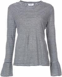 T-shirt à manche longue à rayures horizontales noir et blanc Frame
