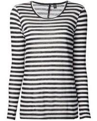 T-shirt à manche longue à rayures horizontales noir et blanc Joe's Jeans