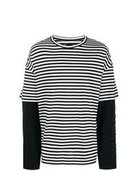 T-shirt à manche longue à rayures horizontales noir et blanc Juun.J