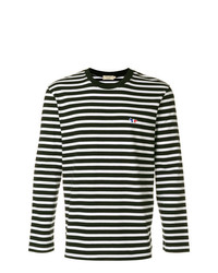 T-shirt à manche longue à rayures horizontales noir et blanc MAISON KITSUNÉ