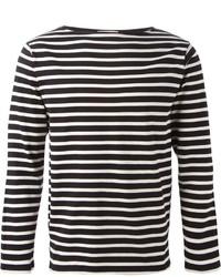 T-shirt à manche longue à rayures horizontales noir et blanc Saint Laurent