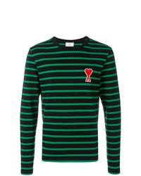 T-shirt à manche longue à rayures horizontales noir AMI Alexandre Mattiussi