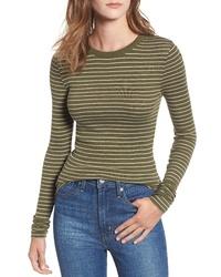 T-shirt à manche longue à rayures horizontales olive