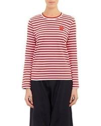 T-shirt à manche longue à rayures horizontales rouge et blanc