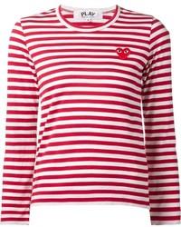 T-shirt à manche longue à rayures horizontales rouge et blanc Comme des Garcons