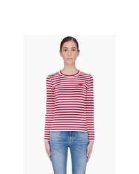 T-shirt à manche longue à rayures horizontales rouge et blanc Comme Des Garons Play
