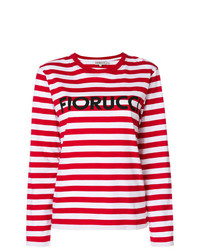 T-shirt à manche longue à rayures horizontales rouge et blanc Fiorucci
