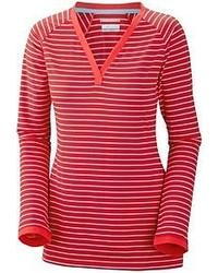 T-shirt à manche longue à rayures horizontales rouge