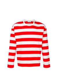 T-shirt à manche longue à rayures horizontales rouge AMI Alexandre Mattiussi