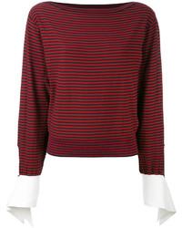 T-shirt à manche longue à rayures horizontales rouge Chloé