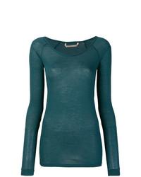 T-shirt à manche longue à rayures horizontales vert Humanoid