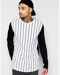 T-shirt à manche longue à rayures verticales blanc et noir