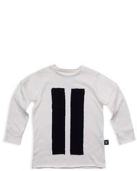 T-shirt à manche longue à rayures verticales blanc