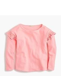 T-shirt à manche longue à volants rose
