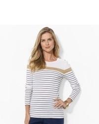T-shirt à manche longue blanc et bleu marine