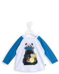 T-shirt à manche longue blanc et bleu Stella McCartney