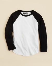 T-shirt à manche longue blanc et noir