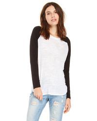 T shirt a manche longue blanc et noir original 3140115