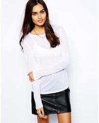 T-shirt à manche longue blanc Glamorous