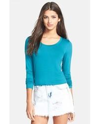 T-shirt à manche longue bleu canard