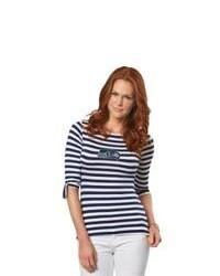 T-shirt à manche longue bleu marine et blanc