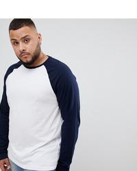 T-shirt à manche longue bleu marine et blanc ASOS DESIGN