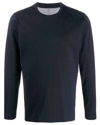 T-shirt à manche longue bleu marine Brunello Cucinelli