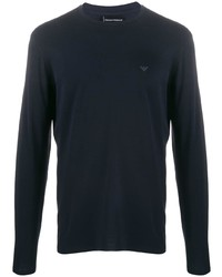 T-shirt à manche longue bleu marine Emporio Armani