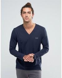 T-shirt à manche longue bleu Hugo Boss