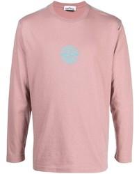 T-shirt à manche longue brodé rose Stone Island