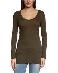 T-shirt à manche longue brun foncé Bobi