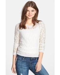 T-shirt à manche longue en dentelle blanc