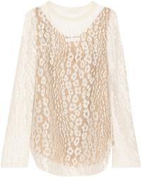 T-shirt à manche longue en dentelle blanc Chloé