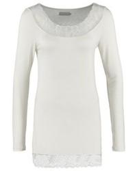 T-shirt à manche longue en dentelle blanc Cream